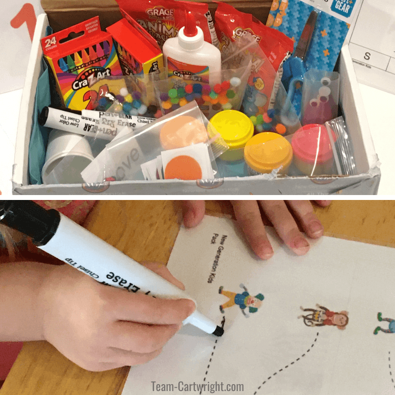 Top picture of a close up of the supplies in the preschool learning box, Bottom: Close up of a preschooler using a dry erase marker to trace a dotted line