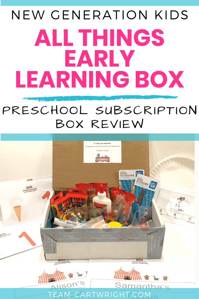 Text: New Generation Kids All Things Early Learning Box Preschool Subscription Box Review with picture of open box full of learning games for preschool