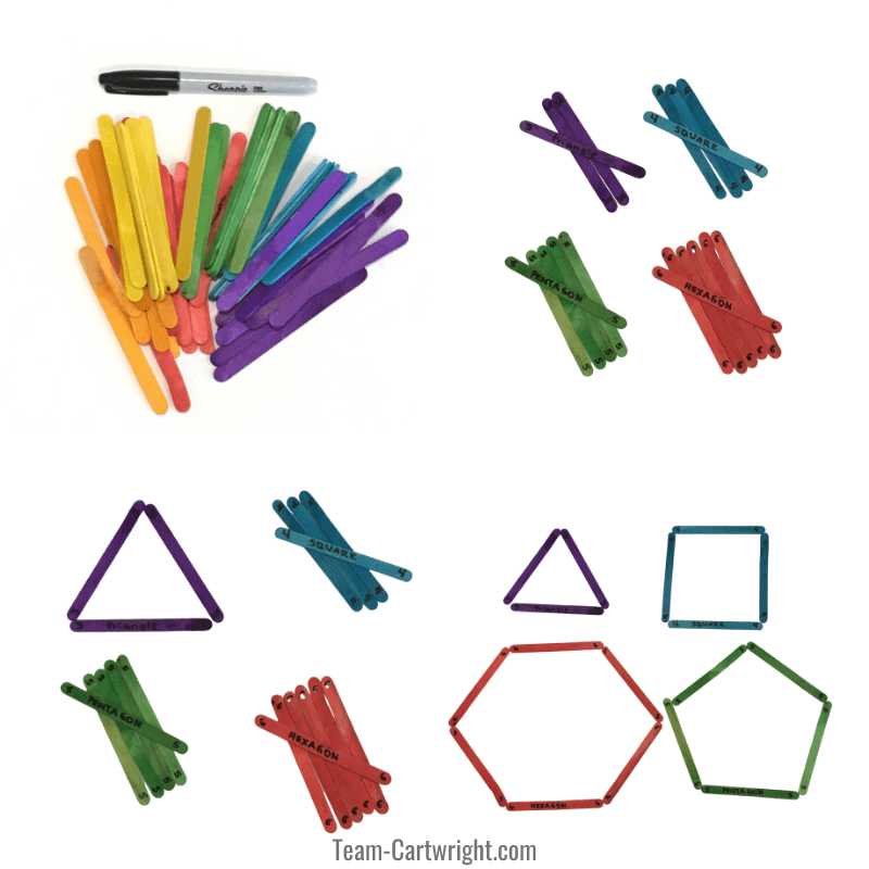 4 pictures of craft sticks. One picture of multicolored sticks, one of sticks separated into color piles, one with a triangle out of sticks, and one with shapes made out of stickss