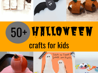 50+ Halloween crafts for kids with picture of mummy, bat, pumpkin, ghost, and spider crafts for toddlers and preschool