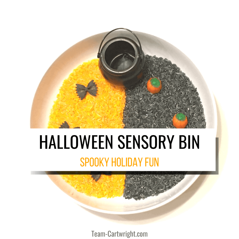 Halloween sensory bin with picture of sensory bin with orange and black dyed rice