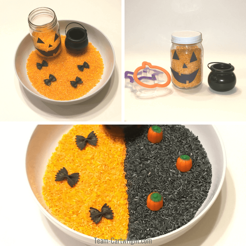3 pictures of sensory bins with black and orange rice, dyed pasta bats, and cauldron