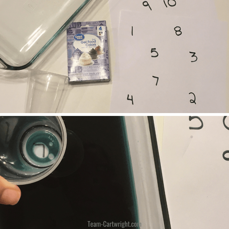 picture of supplies for colored water number hunt on top, picture of plastic cup finding the number in the colored water on bottom