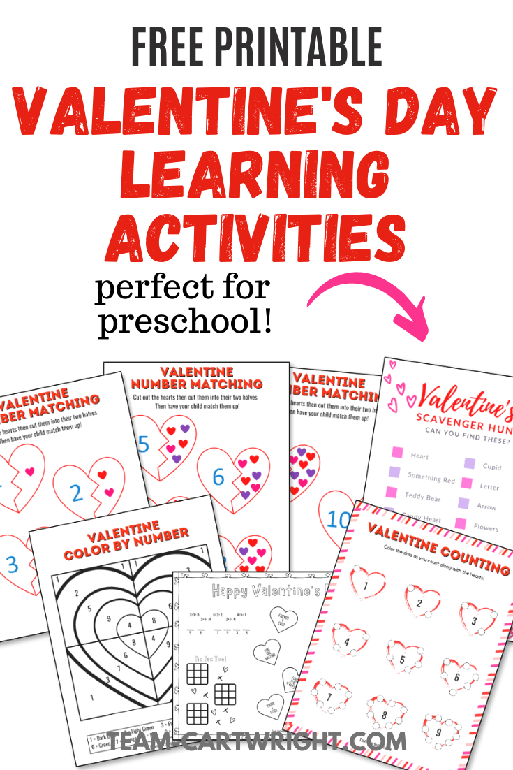 Free Printable Valentine's Day Learning Activities perfect for preschool