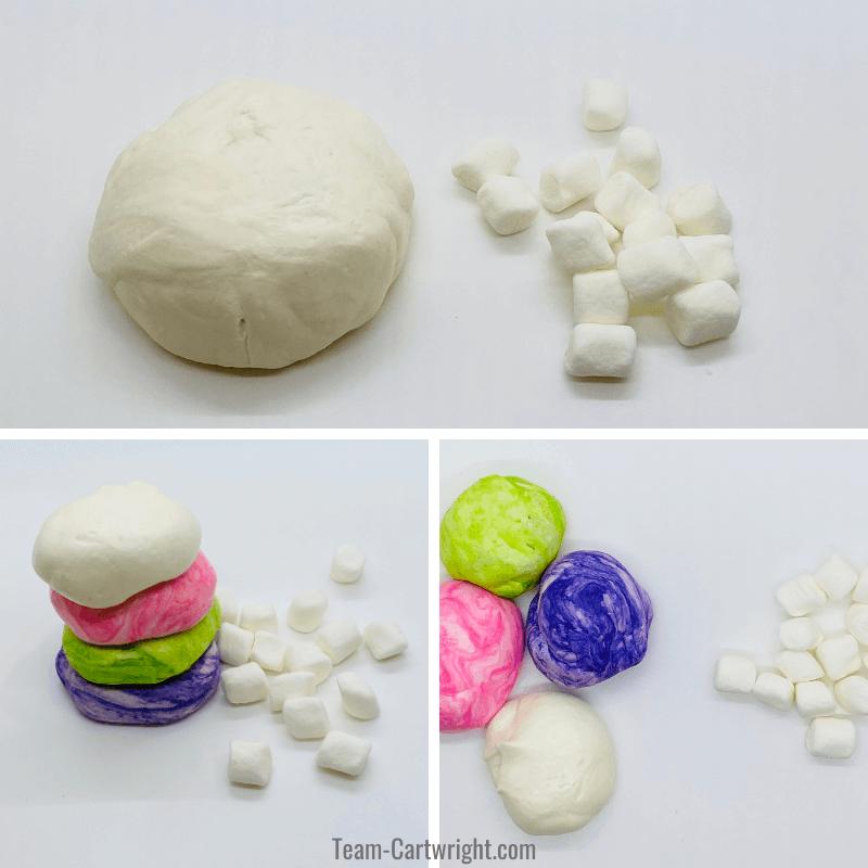 picture 1: white marshmallow playdough and mini marshmallows. Picture 2: mini marshmallows and stack of playdough balls, white, pink, green, and purple. Picture 3: Same balls spread out and minimarshmallows