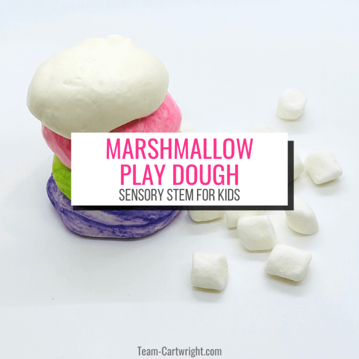 text: Marshmallow Play Dough Sensory STEM for Kids Picture: mini marshmallows next to a stack of white, pink, green, and purple play dough