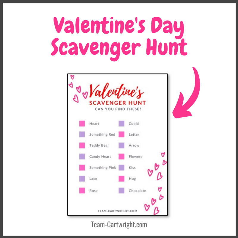 Valentine's Day Scavenger Hunt with free printable image