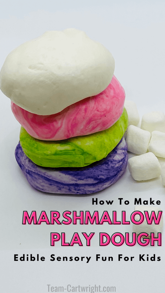 text: how to make marshmallow play dough edible sensory fun for kids. picture: white, pink, green, and purple marshmallow playdough and mini marshmallows