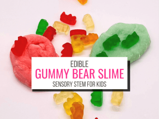 Text: Edible Gummy Bear Slime Sensory STEM for Kids. Picture: Gummy bears and red and green gummy bear slime