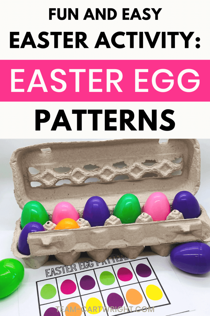 text: Fun and Easy Easter Activity: Easter Egg Patterns. Picture: Egg carton with colorful plastic eggs and printable of egg pattern to recreate