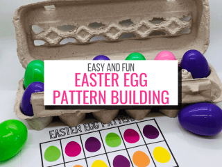 Text: Fun and Easy Easter Egg Pattern Building Picture: and egg carton with colored plastic easter eggs and a copy of a printable pattern to replicate