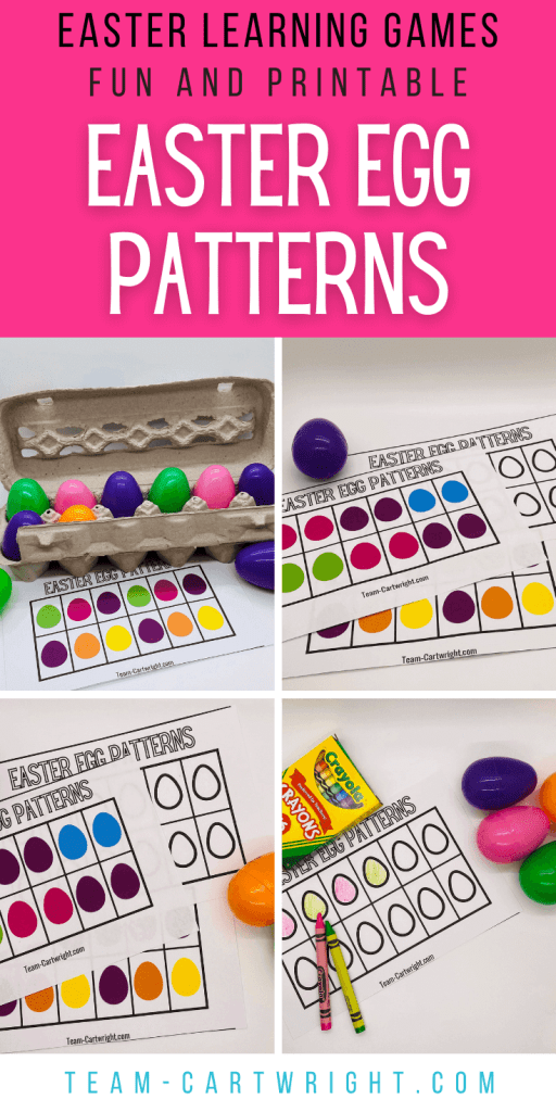 Text: Easter Learning Games Fun and Printable Easter Egg Patterns Pictures: egg carton with colorful plastic Easter eggs and patterns to print