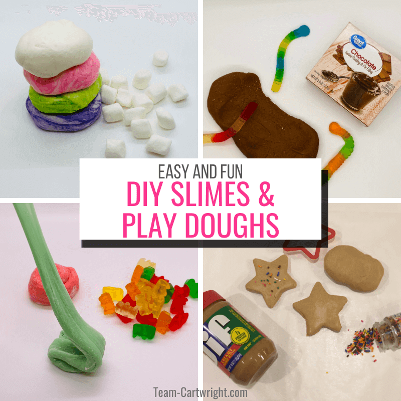 text: Easy and Fun DIY Slimes & Play Doughs. Pictures clockwise from top left: Marshmallow playdough, pudding slime, peanut butter playdough, and gummy bear slime