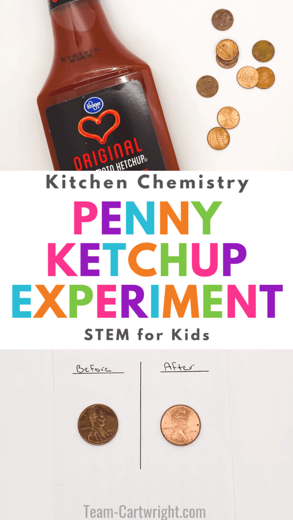 text: Kitchen Chemistry Penny Ketchup Experiment STEM for Kids. Top Picture: bottle of ketchup and pennies. Bottom picture: Before picture of dirty penny and after of penny cleaned with ketchup