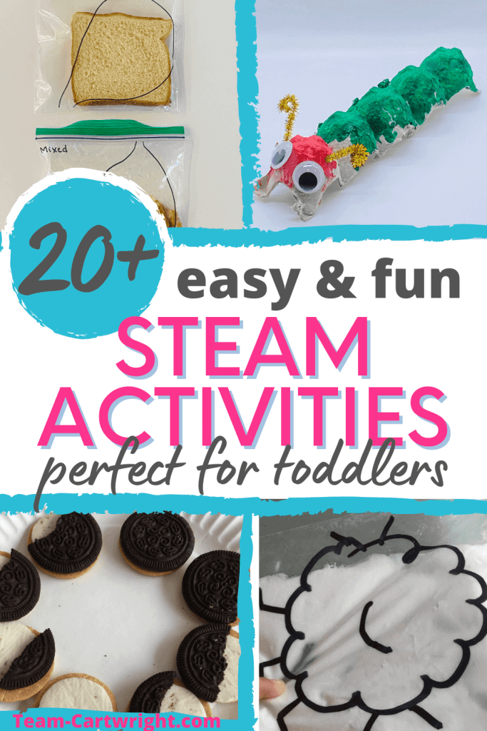 Text: 20+ easy & fun STEAM Activities perfect for toddlers. Pictures of sample toddler stem experiments including: Stomach digestion experiment, caterpillar egg carton STEAM craft, sensory squish bags, cookie moon phase activities