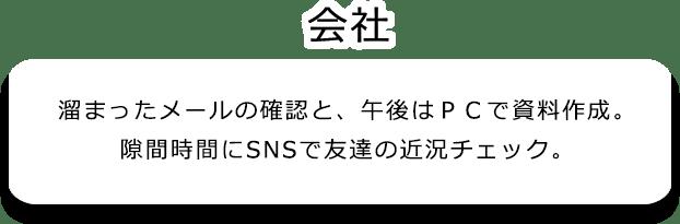 会社。溜まったメールの確認と、午後はPCで資料作成。 隙間時間にSNSで友達の近況チェック。