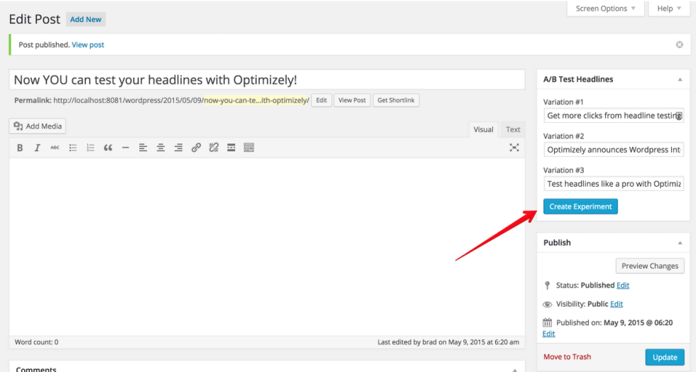 Optimizely Headline Screenshot