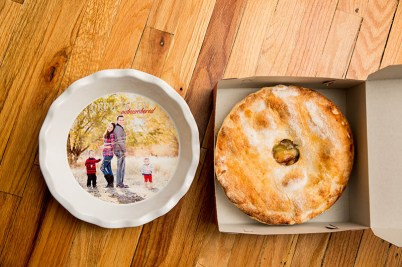 A good friend made us a pie to put into the pie dish I purchased and put our photo in to announce to our families pregnancy number 3
