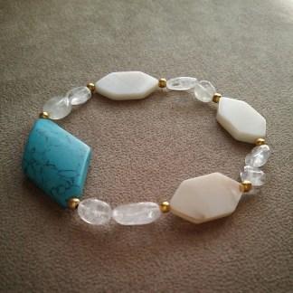 Magnesite, Clear Quartz & Mother of Pearl