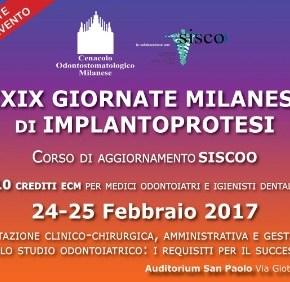 24-25 febbraio 2017: XXIX Giornate milanesi di implantoprotesi
