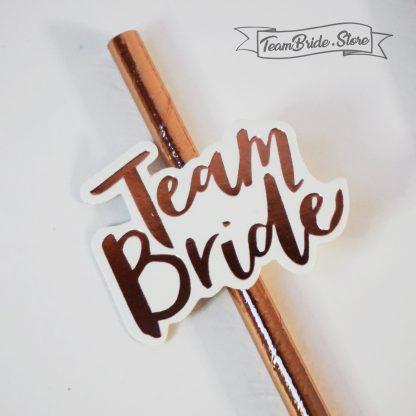 Хартиени сламки розово злато с надпис Team Bride за моминско парти сватба 2