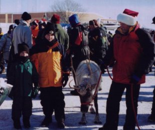2000- A reindeer at the Christmas Eve Tailgate Party