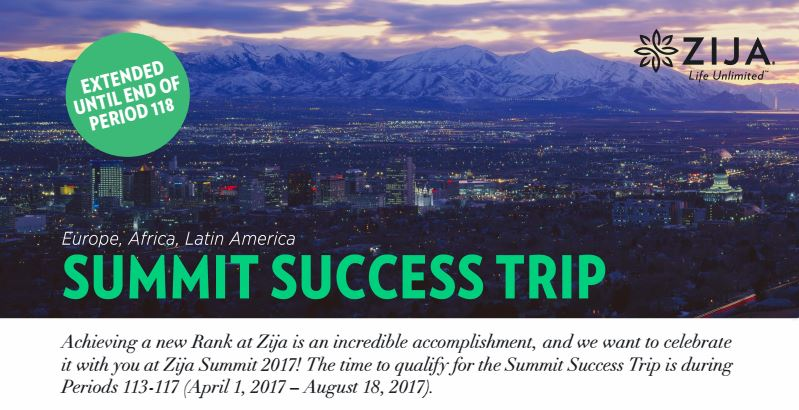 Zija International 2017 Summit Success Trip Flyer