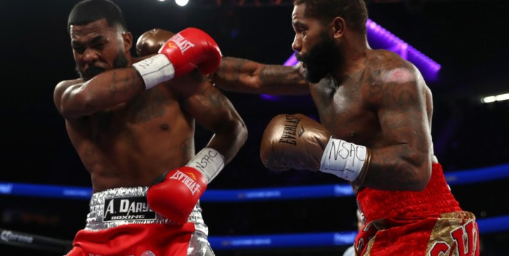 LAS VEGAS, NV - NOVEMBER 19:   (R-L) Curtis Stevens lands a right to the head of James De La Rosa of Mexico during their middleweight bout at T-Mobile Arena on November 19, 2016 in Las Vegas, Nevada.  (Photo by Al Bello/Getty Images) ORG XMIT: 665620823 ORIG FILE ID: 624468050