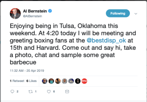 Al Bernstein will do a meet n greet at a cannabs dispensary in OK.