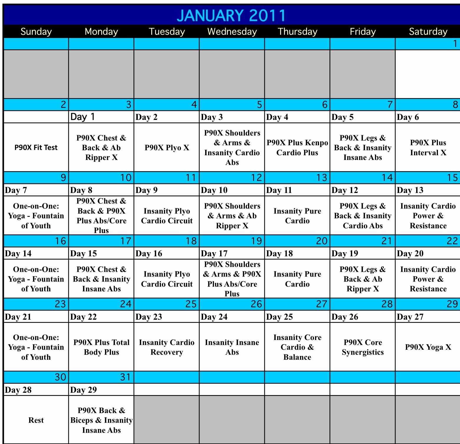 Hybrid Workout Calendar