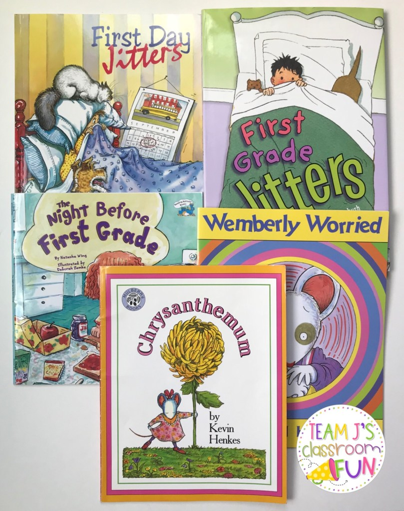 PIctures of Back to School Books - FIrst Day Jitters, The Night Before First Grade, First Grade Jitters, Wemberly Worried, Chrysanthemum