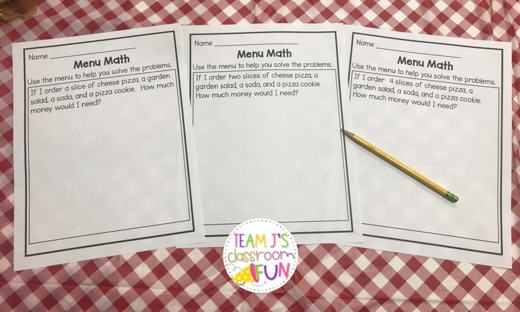 Picture of Menu Math story problems