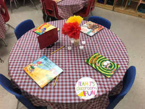 Picture of book tasting table set-up