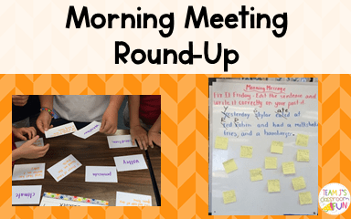 Morning Meeting Blog Header with pictures of activity and message example