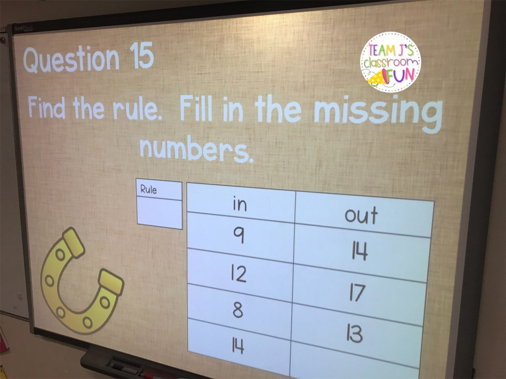 Review questions for finding the rule and the missing numbers.