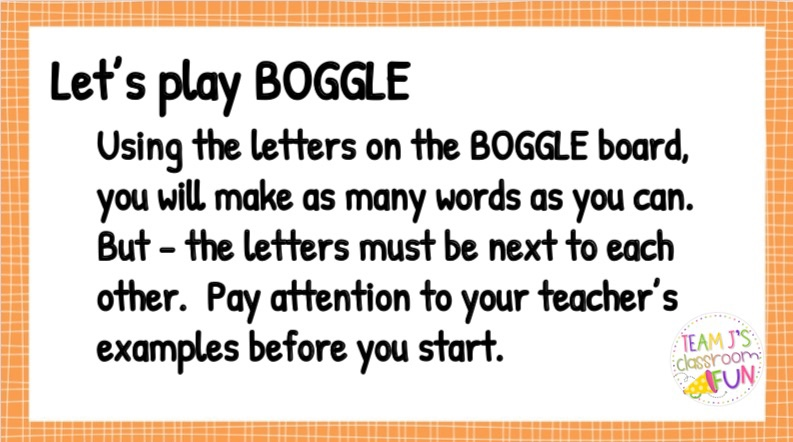 Image of Boggle Directions for activites