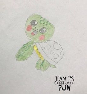 Photo of student drawing of sea turtle.