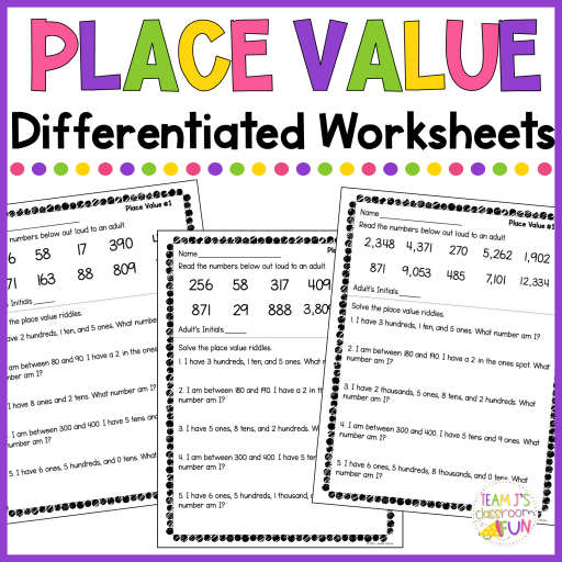 Picture of place value worksheets.