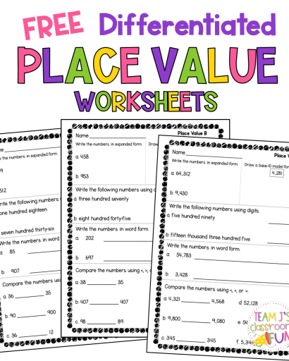 Picture of place value worksheets FREEBIE.