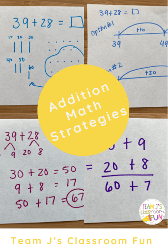 Pin Image for Addition Math Strategies blog post.