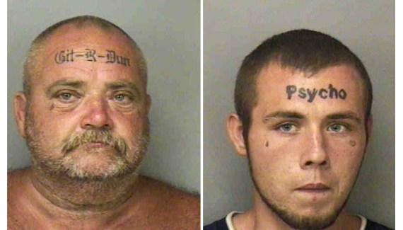 bad mugshots, bad tattos of of ugly but funny father & son, partners in crime with great slogans!