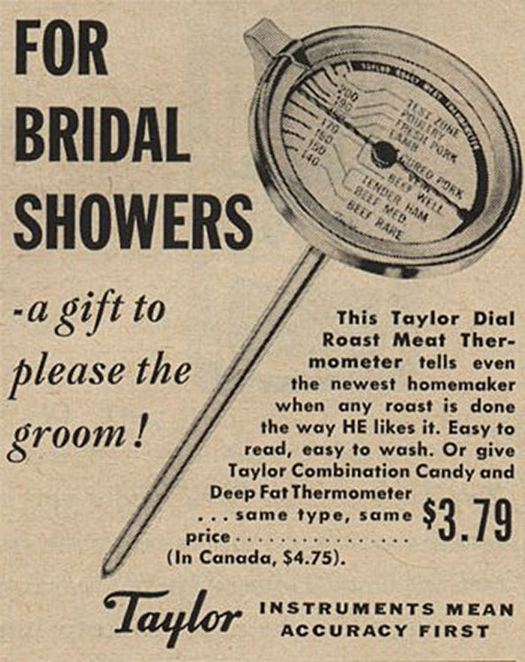 Meat Termometer for Bridal Showers ~ The most sexists advertising ~