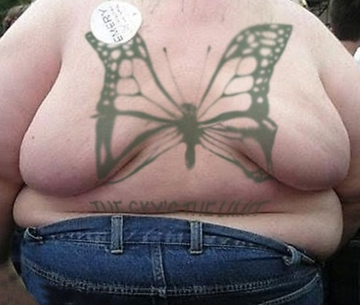 Butterfly Fat Rolls on Back Bad Tattoos America's Worst Tattoos Regrettable Horrible Awkward Stupid People Regrets Misspelled Nasty Tats WTF Funny