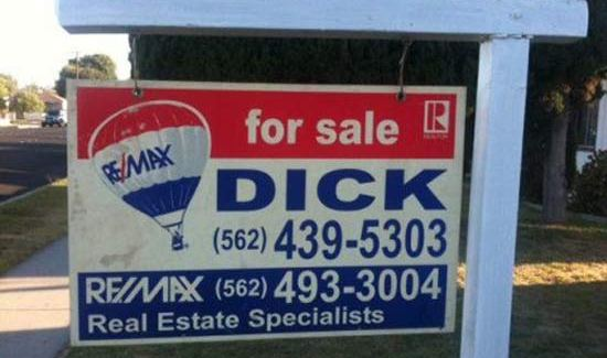 For Sale: Dick ~ 25 Funny Signs