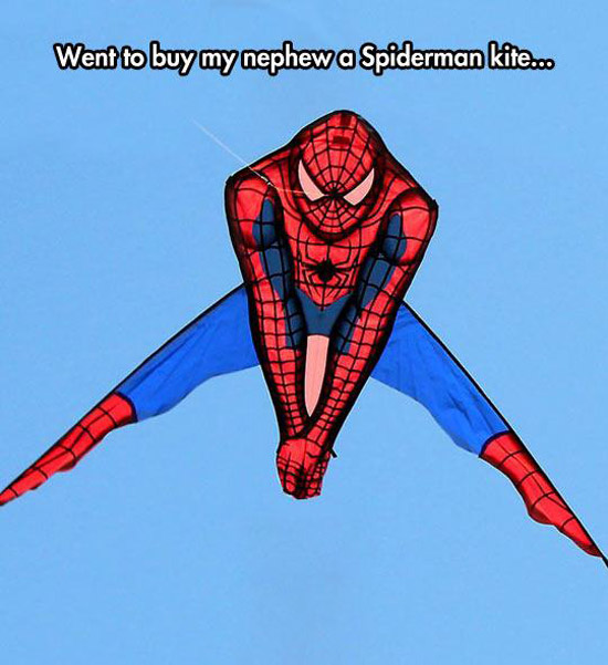 Spiderman Kite with spy holding his penis ~