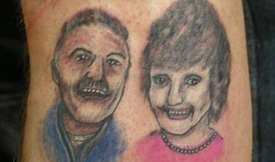 Bad portrait tattoo of mom & dad