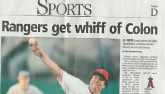 Texas Rangers Get iff of Colon ~ Funny Newspaper Headline Fails