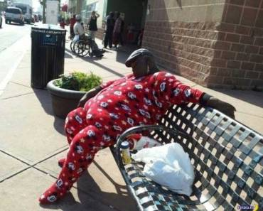 awkward family photo man in mickey mouse pajamas sleeping at bus stop bench