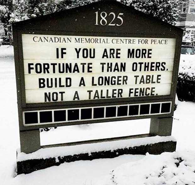 Funny church sign ~ build a longer table not a taller fence