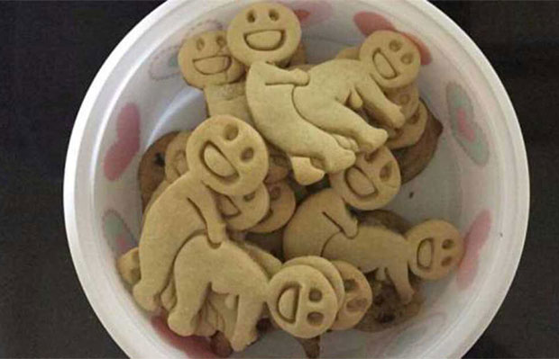 Funny smiley face humping crackers